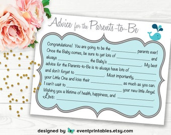 Printable Baby Shower Mad Libs, Advice for Parents-to-Be, Blue Baby Shower Game, Baby Libs, Nautical Whale DIGITAL FILE by Event Printables