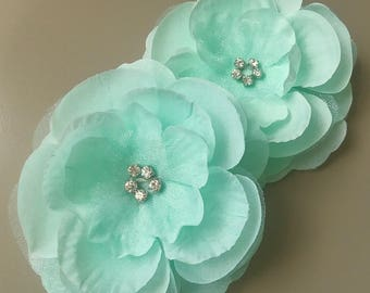 "Silk Organza Aqua Mint Flowers Rhinestones 3 1/2"" Beatuiful"