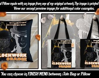 Staffordshire Bull Terrier Art Pillow or Tote Bag/Dog Tote Bag/Dog Pillow/Dog Art/Custom Dog Portrait/A Clockwork Orange Movie Poster