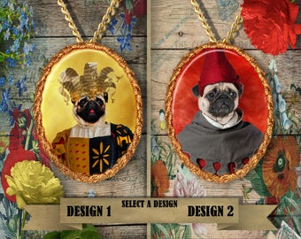 Pug Jewelry Pug Pendant Pug Charm Pug Portrait Custom Dog Jewelry Nobility Dog Porcelain Jewelry Pug Lover Gift Funny Pug Art