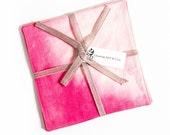 Dip dyed napkins in Pink ...