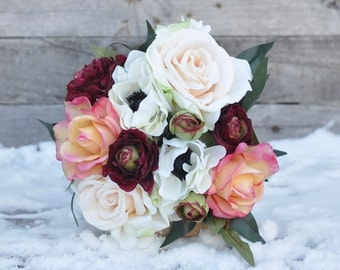 Wedding Bouquet, Wildflower Bouquet made with Marsala Ranunuclus, Lavender, Roses, and Ruscus, Berries and Eggplant Callas.