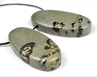 Lovely Chinese Painting Jasper Small Oval Pendant Pair  - 30mm x 15mm x 6mm - B7012