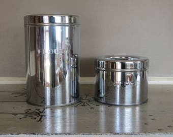 Vintage Kreamer Ware Kitchen Canister Set of 2 Chrome Canisters