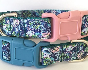 Hanging with Fronds Lilly Pulitzer Inspired Dog Collar / Lilly Pulitzer  Inspired Pet Leash in Hanging with Fronds