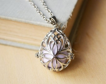 Lavender Filigree Oval Harmony Caller Ball Chime Necklace