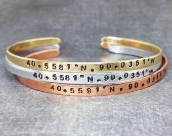 GPS Coordinates Cuff Bracelet, Latitude Longitude, GPS Bracelet, Location Bracelet. Location Jewelry, Coordinates Cuff, Custom Cuff Bracelet