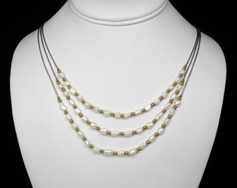 Freshwater Pearl Liquid Silver Three-Strand Necklace in Silver