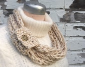 Ivory Sparkles Loop Scarf  -  Made To Order