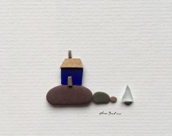 Original sea glass art 5 by 5 Mini unframed pebble art picture by sharon nowlan, matted sea glass and pebble art