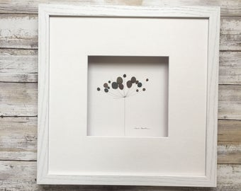 Pebble Art minimal botanical by Sharon Nowlan, flower pebble art comes matted or framed in 12 by 12 frame.