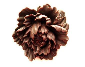 1 Piece - beautiful chocolate brown large peony pendant
