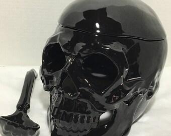 Black Ceramic Skull with Ladle