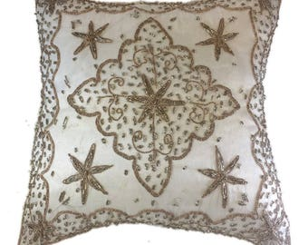 White beaded silk pillow #1