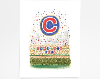 Cubs Win - Limited Edition Art Print - 8x10