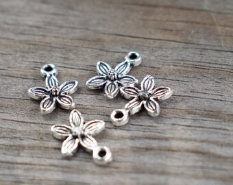 40 Silver Plum Blossom Charms Antiqued Silver  14mm