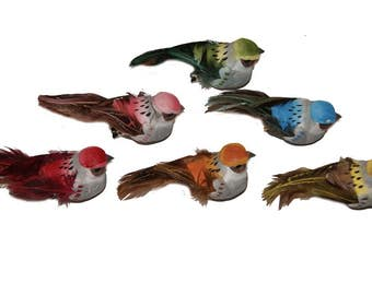 12 Pc 3 1/2 Inch Feather and Foam Craft Bird with Metal Clip (Perry) NEW ITEM!!