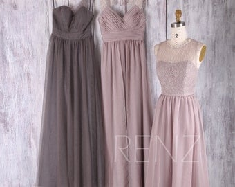 2017 Mix Match Bridesmaid Dress, Long Mismatch Wedding Dress with Beading, Ruched Evening Gown, A Line Prom Dress Full (FS352/L230/L229)