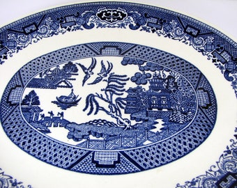Vintage BLUE WILLOW PLATTER Oval Serving Plate Willow Ware