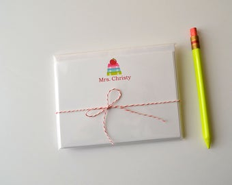 Personalized Teacher Note Card Set - Apple & Books Note Card Set - Flat Stationary - Set of 8