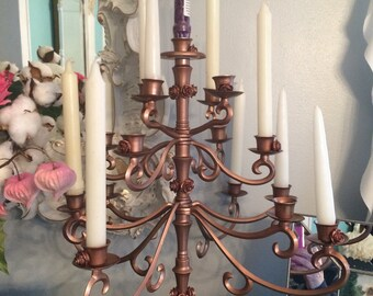 17 candle candelabra, copper,  farmhouse rustic, wedding decoration