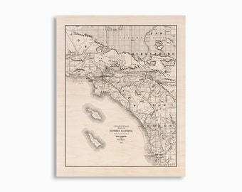 Los Angeles and San Diego Wood Map, Southern California Map on Wood, Maple Wood Art, Arrives Ready To Hang