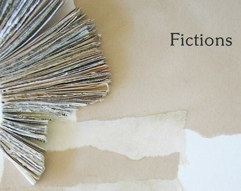 Original Book Art - Fictions - handmade book fragments, tea-stained paper, printed text, torn strips, art collage, 8x10, 20x25 cm