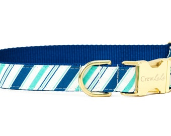 Crew LaLa™ Royal Blue & Green Stripe Dog Collar