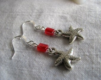 Red Starfish Earrings, Starfish Earrings, Red Earrings, Silver Earrings, Starfish Dangles, Simple Earrings