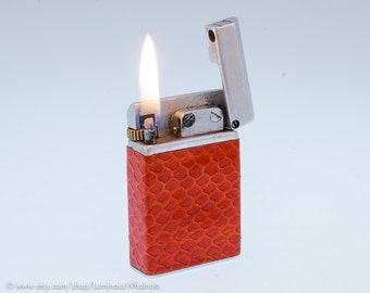 1940s French Savent Aluminum Pocket Lighter With Snakeskin Covering