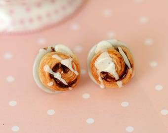 Cinnamon Buns Stud Earrings - Food Earrings -Cinnamon Rolls Earrings - Danish Pastry Stud Earrings -Miniature Food Jewelry - Kawaii Earrings