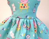 Happy Peppa Pig Sleeveless Dress for your 18 Inch Doll A