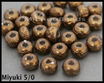 Sample 5 - 5/0 MIYUKI Baroque Pearls - Round Opaque Antiqued Brass Miyuki Glass Seed Bead - 5.5mm Seed w/ 1.5mm Hole - DIY Wholesale - 6892