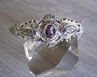 Amethyst & Marcasite Filigree Bangle Bracelet