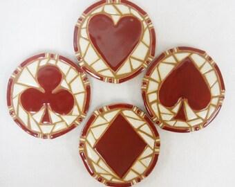 Mosaic  Coasters PLAYING CARD  SUITS  Handmade Ceramic Tile Poker Art Dark Red Burgundy Heart Club Spade Diamond Set of 4