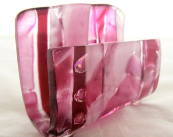 Fused Glass Business Card Holder - Pink Cadillac
