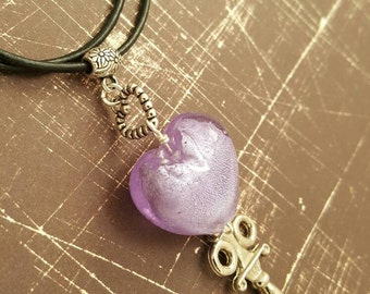 Valentine's Day Key to my Heart- purple lampwork glass heart with key dangle-black leather chord