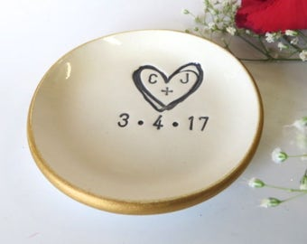 ring holder, ring dish,  engagement gift, Gold Edge, wedding monogram initial tray,  Gift Boxed, Made to Order