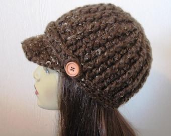 Brown Tweed Newsboy hat Crochet Newsboy Cap Brown News boy Chocolate Hat Brown Knit Newsboy Brown Cap with Visor Adult Brown Hat Crochet Hat