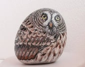 Hand Painted Stone Owl. River Rock Paperweight Home Decor Painting. Feather Bird Collectible. Hand Made. Folk Painting. 3D Pet.