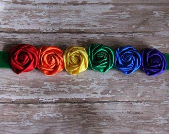 Rainbow Baby Maternity Sash in rosettes