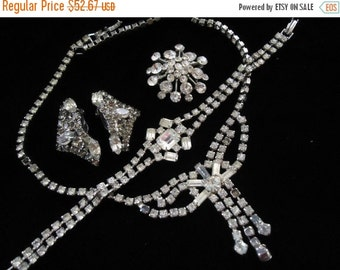Now On Sale Vintage Necklace Bracelet Earrings Brooch Pin Set of 4 Mid Century Costume Jewelry Retro Rockabilly Glamour Girl Style