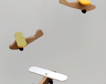 Airplane Mobile,D60*,3ct Piper Cub,Blue-Sage-Yellow/Silver,Baby Mobile,Wood Airplane,Nursery Mobile,Plane Mobile,Baby Shower Gift,Airplane