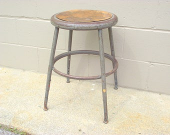 Industrial Metal Stool Drafting Height Tall Adjustable - Kitchen Island with foot ring - American Retro Steel Age - Urban Loft Decor