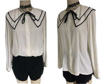 White Peter Pan Black Tie Fancy Collar Loose Dressy Blouse