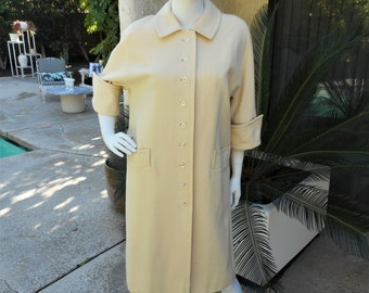 Vintage 1970's The American Way with Wool Cream Colored Wool Coat - Size 14/16