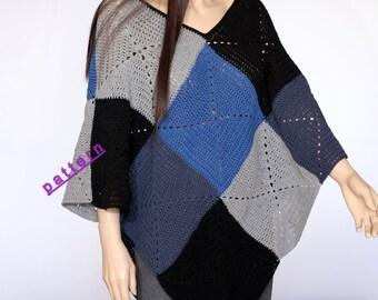 Granny Square Poncho Crochet poncho pattern PDF Cape pattern women's poncho Easy crochet pattern crochet cape pattern