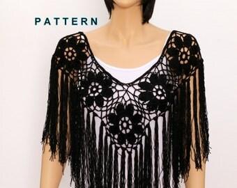 Crochet shawl pattern Crochet poncho pattern Fringe poncho PDF Rustic Poncho