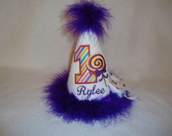 1ST Girls Candy Land Birthday Hat 2ND Lollipop Birthday Hat Any Age Purple Cake Smash Grannies Embroidery