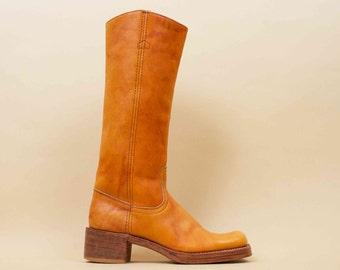 70s Vtg Beautiful Sienna Thick Genuine Leather Campus Riding Boots / Knee High Rugged Chunky Heel Platform BIKER Hippie / 9 Eu 40